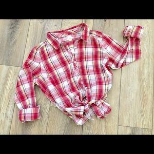 Caslon Pink Plaid Button-Down Shirt Sz M